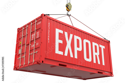 Poster Poort Export - Red Hanging Cargo Container.