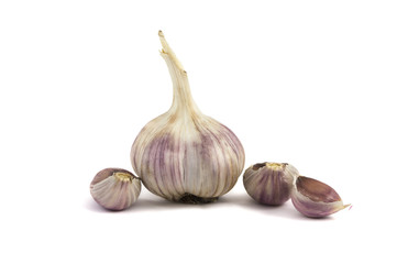 close up of garlic bulb isolated over white