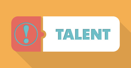 Talent on Blue Background in Flat Design.