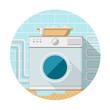 Flat icon of washing machine in bathroom