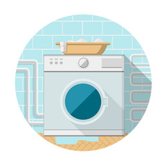 Flat icon of washing machine in bathroom