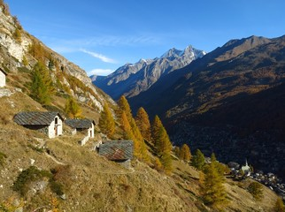 Autumn landscape in Zermatt