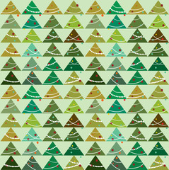 Vector Christmas pattern  with trees