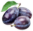 Three plums with leaf.