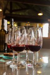 glasses of ruby port wine