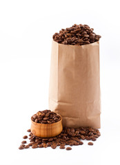 Paper bag with coffee beans isolated.