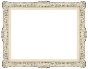 White baroque Frame isolated on white background.