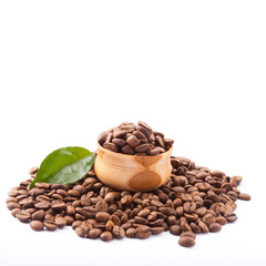 coffee beans close up isolated