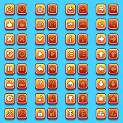 Yellow game icons buttons, icons, interface