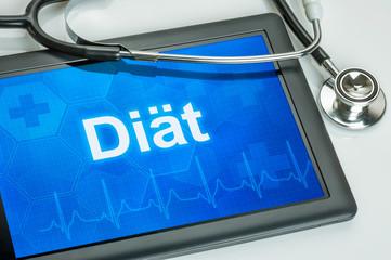 Tablet mit dem Text Diät auf dem Display