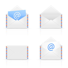 Set of envelope email