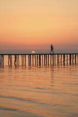 Sunset on the Albanian coast south of town Durres near Kovaje