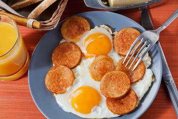 Fried sausage and eggs, breakfast idea