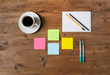 Set office supplies and a cup of coffee