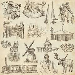 Belarus: Travel around the World. An hand drawn illustration.