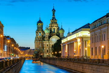 Church of the Savior on Spilled Blood at night in St. Petersburg