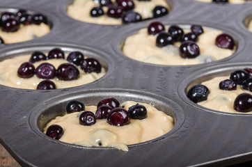 Batter and berries to make muffins