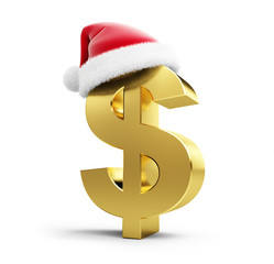 dollar sign santa hat on a white background