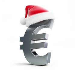 euro sign santa hat on a white background