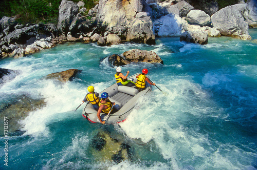 Staande foto Mediterraans Europa The Soca river, Triglav national park, Slovenia, Europe