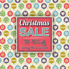 christmas background and  label with sale offer, vector
