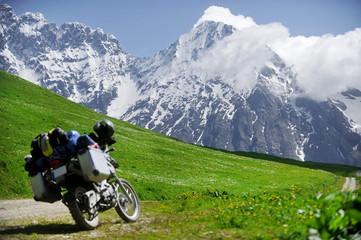 Adventure motorcycle on the Zagar Pass