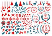 Boże Narodzenie wektor zestaw elementów projektu