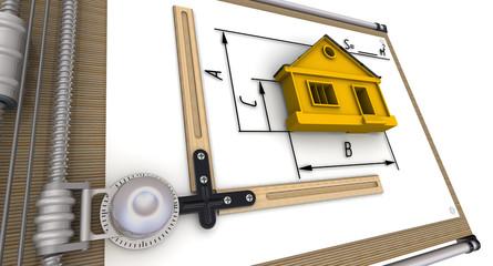 Схема дома с размерами на чертёжном приборе