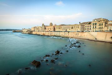 Rocky Coastline and Sea Walls at Ortigia