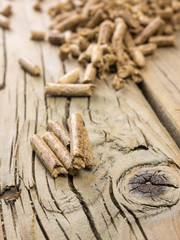 wood pellets in close up