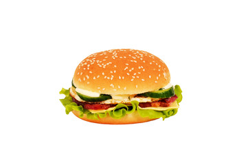 burger with bacon, egg, salad and