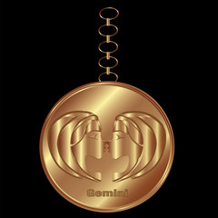 Bronze Charm for Gemini Over a Black Background