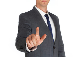 Businessman touching the screen on white backgroound