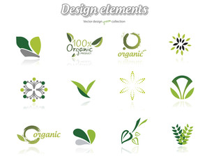 Collection of green ecological icons, illustration isolated