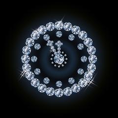 Diamond holiday xmas clock vector illustration