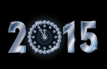 Happy 2015 new year card with diamond xmas clock, vector