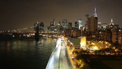 night light traffic manhattan bay 4k time lapse from new york