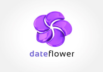 Abstract colored 3d flower logo icon concept. Logotype template