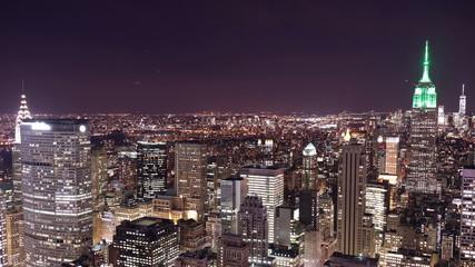 NYC night panorama view 4k time lapse