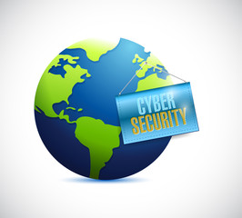 cyber security globe and banner
