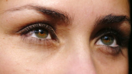 Green eyes of fashion model playing closeup