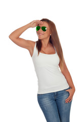 Funny girl with sunglasses looking at side