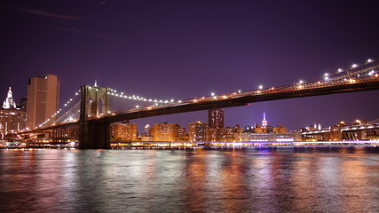 colored night manhattan panorama from broolkyn 4k time lapse nyc