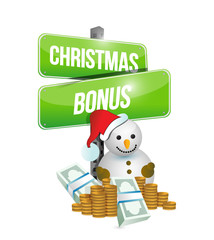 christmas bonus sign and snowman