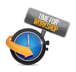 time for workshop sign illustration design