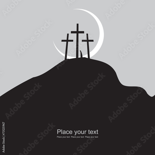 Mount Calvary with three crosses at night under the moon