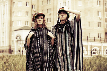 Young fashion hippie couple outdoor