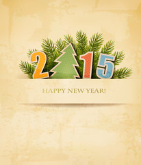 2015 with a Christmas tree on old paper background. Vector.