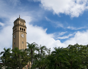 Clocktower overlooking university campus