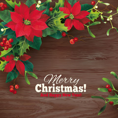Christmas background with holly garland. Vector